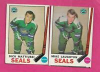 1969-70 OPC SEALS MIKE LAUGHTON RC + DICK MATTIUSSI RC  CARD (INV# C3629)