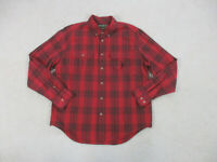 Eddie Bauer Button Up Shirt Adult Extra Large Red Black Plaid Long Sleeve Mens