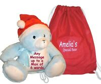 Personalised Christmas Teddy Bear Blue Santa Hat Baby 1st Gift + Bag Embroidered