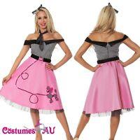Ladies 50s 1950s Grease Bopper Poodle Costume Hop Diva Rock Polka Fancy Dress