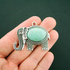 Elephant Pendant Charm Antique Silver Tone With Faux Turquoise Stone - SC6024