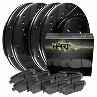[FRONT+REAR KIT] Black Hart *DRILLED & SLOTTED* Brake Rotors +Ceramic Pads C2450