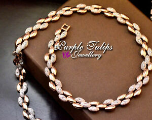18K Rose Gold GP Luxury Ear Of Wheat Necklace Made With Swarovski Crystals