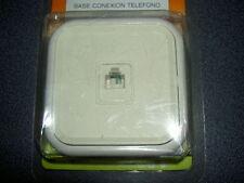 prise murale téléphone, à encastrer, à griffes, conx USA RJ11 ivoire 8 x 8 cm