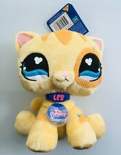 "Littlest Pet Shop Yellow Cat Plush 9"" Stuffed Animal 2007 Hasbro NEW with tag"