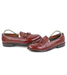 Ecco Mens 42 US 8 Genuine Snakeskin Tassel Slip On Loafers Dress Shoes Brown