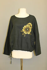 CHEYENNE LINEN PULLOVER DRAWSTRING FLORAL PULLOVER BLOUSE BLACK MIX O/S 16 $198