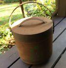 Vintage Antique Footed Metal Coal Ash Bucket Bin Storage Holder Carrier