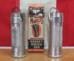 Vintage Antique Marbles Pocket Match Box Safe Pair &Orig.Box Rare Marble Arms Co