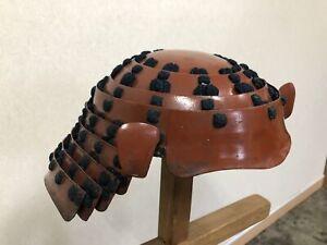 Y3131 KABUTO Red Foldable Helmet Edo period samurai Japanese antique armor