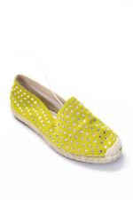 Casadei Women's Rhinestone Round Toe Loafers Yellow Beige Size 38 8