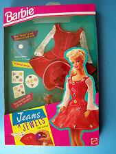 1993  BARBIE DOLL JEANS 'N JEWELS FASHIONS RED DENIM & LACE DRESS 11726 NRFB