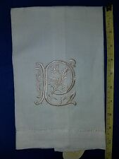 Monogram Linen Tea Towel  Letter P 22 inches long 11 inches folded 1