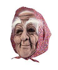 Vestido De Fiesta Adulto Halloween Terror Máscara De Goma Antiguo Mujer con Pañuelo Cabeza Elegante
