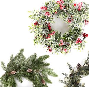 Christmas Garland Vine Red Berry Artificial Pine Needle Greenery Vine Firepla