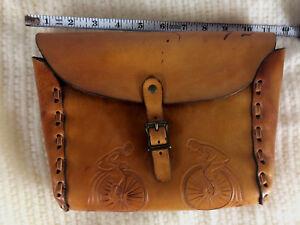 Rare Vintage Antique High Wheel Bicycle Leather Satchel Pouch Saddle Bag