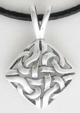Celtic Square Pendant Solid 0.925 Sterling Silver on Black Leather Cord