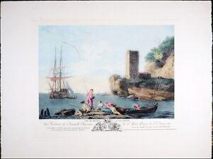Vintage Copper Plate Etching, Old European Harbor Fishing Scene, Amazing Print