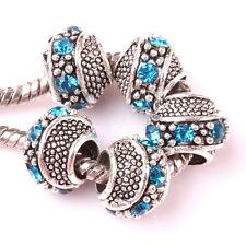 5pcs Tibetan silver Blue Hole spacer beads fit Charm European Bracelet DIY #C158