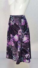 Profile BHS black purple floral velvet on jersey Midi flare flippy skirt 14 W34