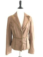 Cache Womens Size 8 Brown Two Button Blazer Lamb Leather Frayed Hem Trim