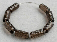 Natural Smoky Quartz Faceted Tube Log Gemstone Beads 002