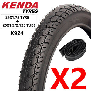 """2 x KENDA Tyres 26 x 1.75 Inch for Commuting Mountain Bike City 26"""" Bicycle"""