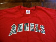 Los Angeles Angels Mike Trout #27 Camo Lettering Red XL T-Shirt