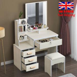 Dressing Table Makeup Desk Vanity Set W/ Mirror, Drawer & Stool White UK