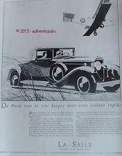 PUBLICITE VOITURE LA SALLE DE PARIS VERS LA COTE BASQUE AVION DE 1929 FRENCH AD