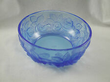 """Verlys Glass 5"""" ROSE BOWL *Double Signed* Directorie Blue with Etched Roses"""