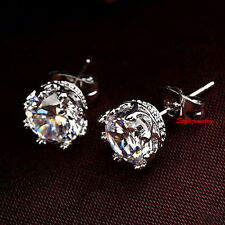 18k White Gold Filled Bridal Crown Stud Earring Made With Swarovski Crystal IE65