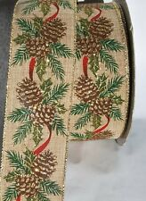 """10 yards wired Christmas burlap pine cones & gold on red ribbon 2.5"""" wide"""