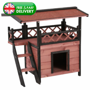 Wooden Pet House Cat Small Dog Home Outdoor Shelter Cover Shade Hide Bed Retreat