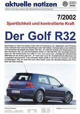 VW GOLF R32 IV 4 aktuelle notizen Verkauf Vorteile Prospekt Sheet 2002 51
