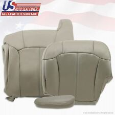 1999 to 2002 GMC Sierra Driver Top Upper Back & Bottom Leather Seat Covers Gray