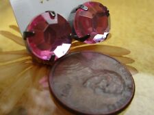 "Pink Acrylic Rhinestone Pierced Earrings - About 1/2"" - Retro to Modern"