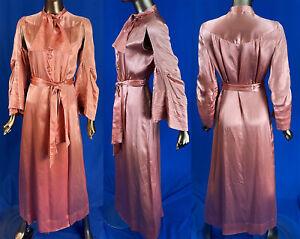 Vintage Nelly Don Dress NRA Blue Eagle Label Pink Silk Gold Stitch Peignoir Robe
