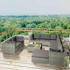 vidaXL Garden Sofa Set 32 Piece Wicker Rattan Grey Outdoor Lounge Couch Table