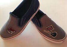 "GYMBOREE Boys Navy ""London Rockers"" Canvas Slip On Tennis Shoes Loafers Sz 4 Y"