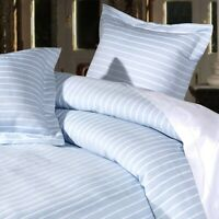 100% Cotton Stripe Design Duvet Cover Set in Sky Blue and White Double Bed Size