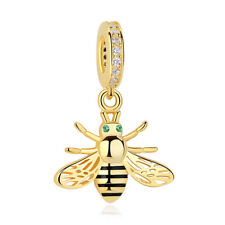 Exquiste SS Sterling Silver Gold Bee Dangle Charm Bracelet PY1457