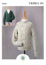 Aran Knitting Pattern Childrens High or V Neck Cable Detail Sweaters UKHKA 161