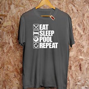 Eat Sleep Pool Repeat T-Shirt Snooker 8 Ball Billard Arcade Spiel Pub Vater Gift