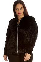 New Womens Plus Size Jacket Ladies Bomber Style Velvet Soft Party Shiny Varsity