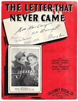 LES PAUL Very Rare Sheet Music THE LETTER Rhubarb Red & Sunny Joe Wolverton 1935