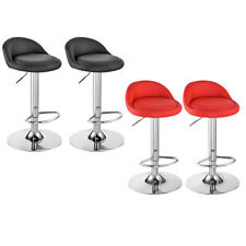 2x Bar Stools Faux Leather Kitchen Pub Low Back Breakfast Bar Chair Leg Chrome
