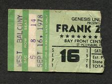 Original 1978 Frank Zappa concert ticket stub St. Petersburg FL Studio Tan