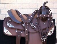 HORSE SADDLE WESTERN USED TRAIL BARREL PLEASURE BRIDLE TACK BROWN 14 15 16 17