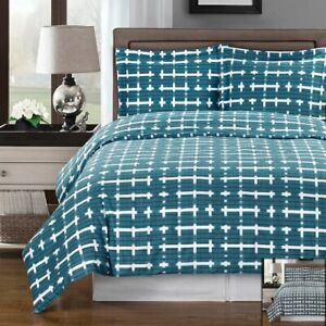 100% Cotton 4PC Contemporary Printed Modern Norwich Comforter + Duvet Cover Set